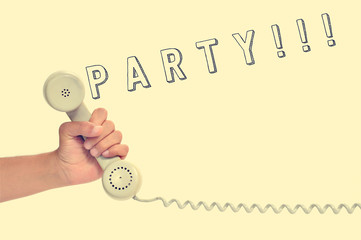 handset of a retro telephone and word party, with a retro effect