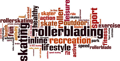 Rollerblading word cloud concept. Vector illustration