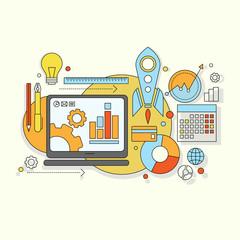 flat design  website development, graphic design, branding, seo,