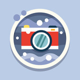 Underwater photography, camera. Travel, flat style vector