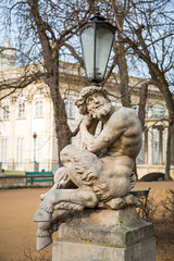 Lantern with sculpture of satyr in Royal Baths Park, Warsaw