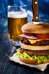 Hamburger pinned with knife