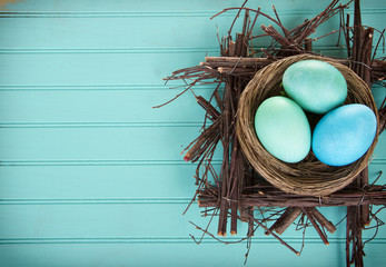 Dyed Easter eggs in a nest
