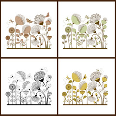 Set of floral card with stylized flowers and butterflies