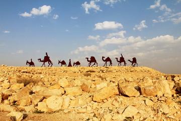 Camels caravan in the Negev desert