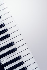 View on the synthesizer keyboard  isolated on a gradient gray
