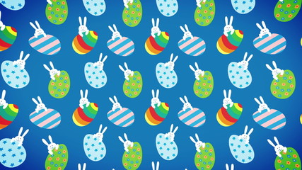 Easter bunnies and eggs animation