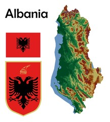 Albania map flag coat