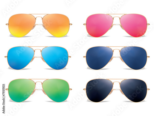 Sunglasses vector icon set. Vector illustration