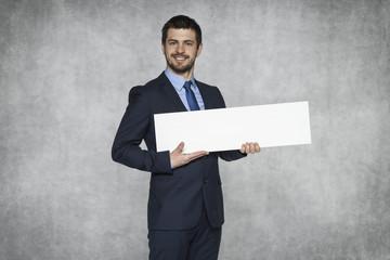 businessman proudly advertisement