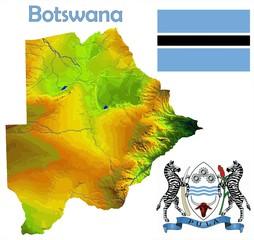 Botswana map flag coat