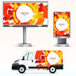 Template outdoor advertising or corporate identity on the car, b