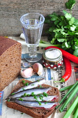 Russian traditions open sandwich with a sardines on rye bread