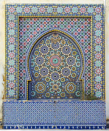 Morocco. Detail of oriental mosaic in Meknes - 79315573
