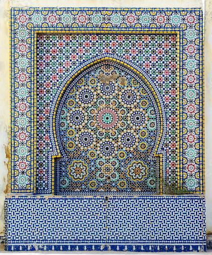 Fotobehang Marokko Morocco. Detail of oriental mosaic in Meknes