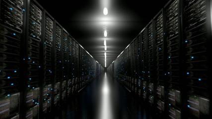 Data center servers endless corridor dark loop centre