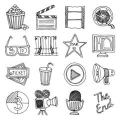 Cinema movie vintage icons set
