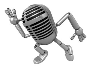 3D Classic Microphone Mascot on Running. 3D Classic Microphone R