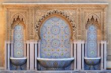 """Постер, картина, фотообои """"Morocco. Decorated fountain with mosaic tiles in Rabat"""""""