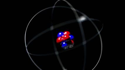 Atom single high energy shake vibrate nucleus proton neutron ele