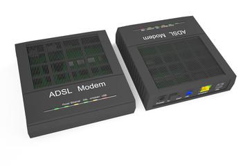 DSL modem, front and back