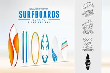 surfing illustration logo emblem with lettering