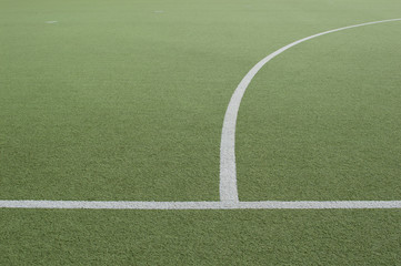 Footbal field and white line
