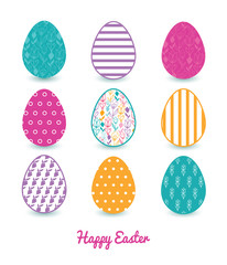 Vector Colorful Tulip Flowers Set of Nine Colorful Easter Eggs