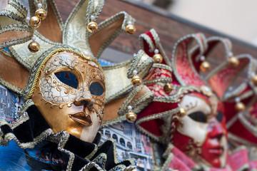 Beautiful elegant venetian carnival mask in Venice, Italy