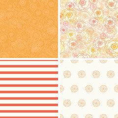 Vector Warm Flowers Set of Four Matching Repeat Patterns
