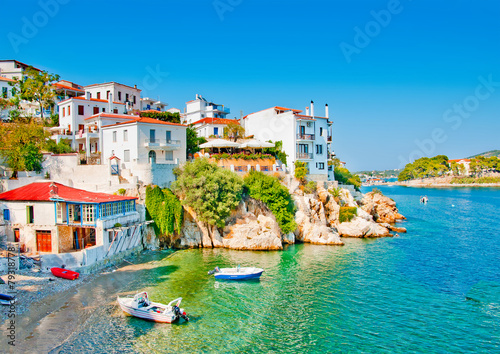 the Old part in town of island Skiathos in Greece - 79318778