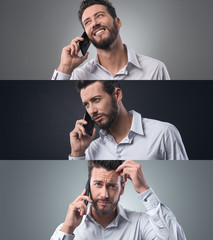 Businessman on the phone, photo collage