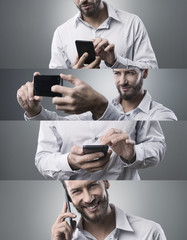 Businessman with smart phone, photo collage