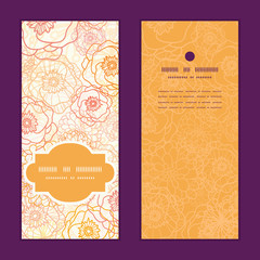 Vector warm flowers vertical frame pattern invitation greeting
