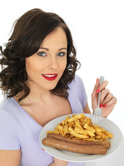 Young Woman Eating Jumbo Sausages and Chips