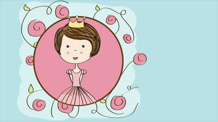 Cute princess and flowers Video animation, HD 1080