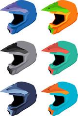 Full-face bike helmets vector pack