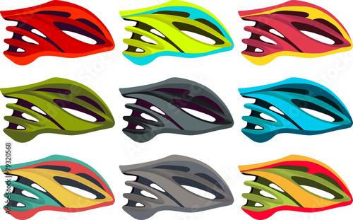 Fototapeta Colorful bike helmet vector pack