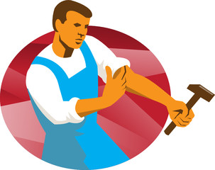 Worker With Hammer Rolling Up Sleeve Retro