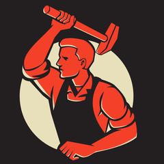 Worker With Hammer Striking Retro