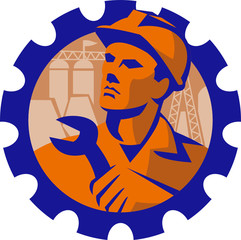 Construction Worker Mechanic Spanner Retro