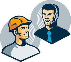 Construction Worker Telemarketer Retro