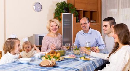 Sunday dinner of family