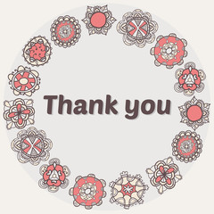 Thank you card with ethnic ornament. Stylish floral background