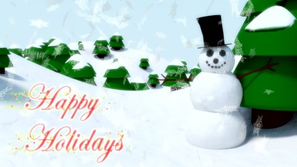 Snowman Happy Holidays happy waving animation winter snowflakes