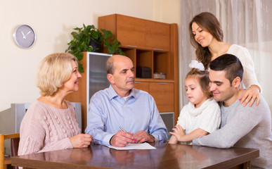 relatives discussing finances