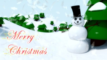 Snowman Merry Christmas happy waving animation winter snowflakes