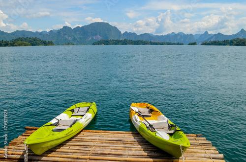 Colorful  Kayak on the lake. © kerdkanno