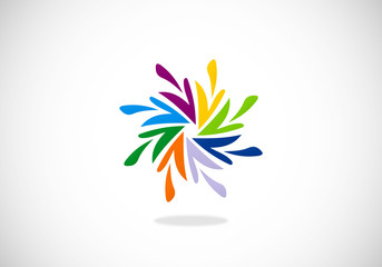 circular arrow colorful abstract vector logo