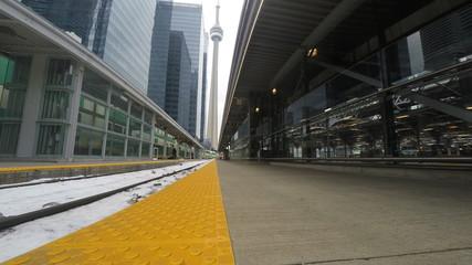 4K UltraHD Train tracks at Union Station in Toronto